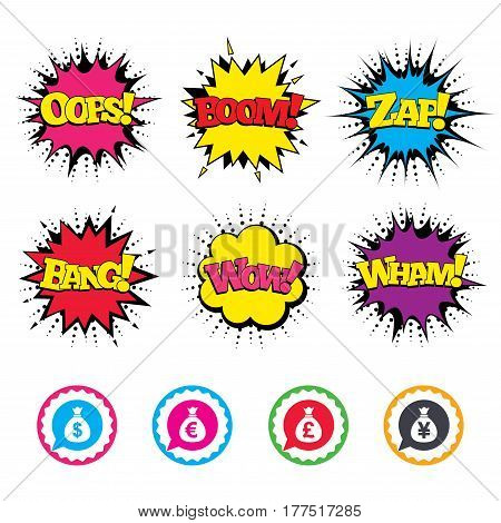 Comic Wow, Oops, Boom and Wham sound effects. Money bag icons. Dollar, Euro, Pound and Yen speech bubbles symbols. USD, EUR, GBP and JPY currency signs. Zap speech bubbles in pop art. Vector