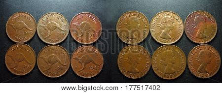 The last six minted Queen Elizabeth 11 vintage pre-decimal coins. Australian pennies with the reverse side displaying the Australian Kangaroo.