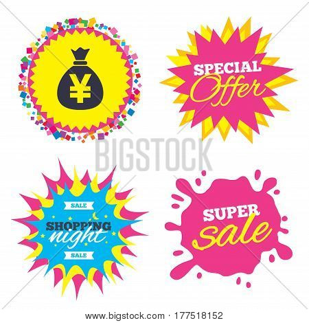 Sale splash banner, special offer star. Money bag sign icon. Yen JPY currency symbol. Shopping night star label. Vector