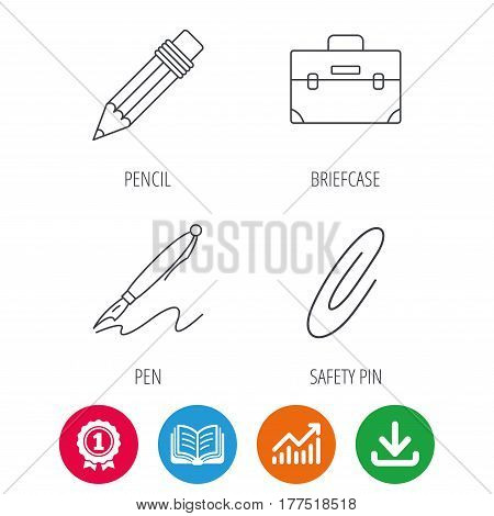 Briefcase, pencil and safety pin icons. Pen linear sign. Award medal, growth chart and opened book web icons. Download arrow. Vector