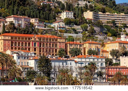 Colorful buildings of Menton - small town on French Riviera.