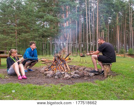 River Wda Poland - August 23 2016: Campfire during a canoeing excursion