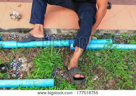 plumber cut repair plumbing broken pipe .