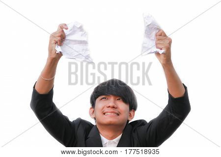 businessman tearing up a document contract or agreement on white background
