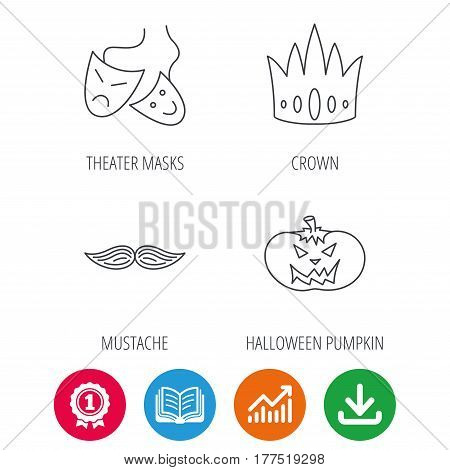 Crown, pumpkin and theater masks icons. Mustache linear sign. Award medal, growth chart and opened book web icons. Download arrow. Vector