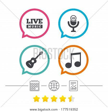 Musical elements icons. Microphone and Live music symbols. Music note and acoustic guitar signs. Calendar, internet globe and report linear icons. Star vote ranking. Vector