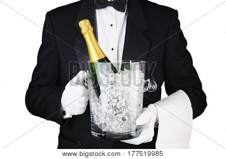 Closeup of a Sommelier holding a Champagne Ice Bucket in front of his torso. Horizontal format on white.