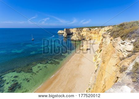 Top view of the idyllic Marinha beach in Algarve Portugal