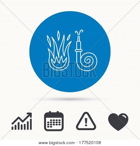Fire hose reel icon. Fire station sign. Calendar, attention sign and growth chart. Button with web icon. Vector