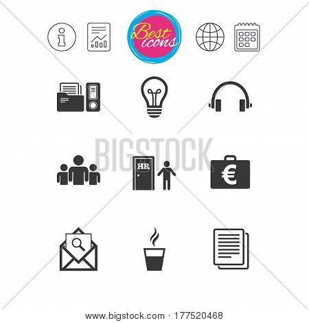 Information, report and calendar signs. Office, documents and business icons. Accounting, human resources and group signs. Mail, ideas and money case symbols. Classic simple flat web icons. Vector