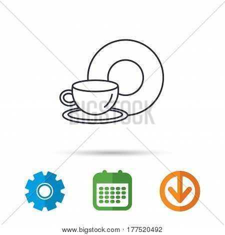 Coffee cup icon. Food and drink sign. Calendar, cogwheel and download arrow signs. Colored flat web icons. Vector