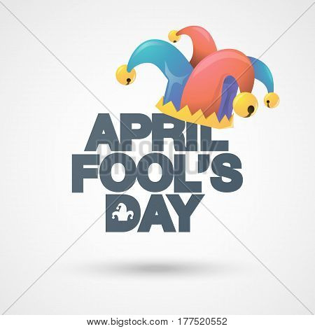 Illustration of a jester hat. April Fools Day. Vector typographical background