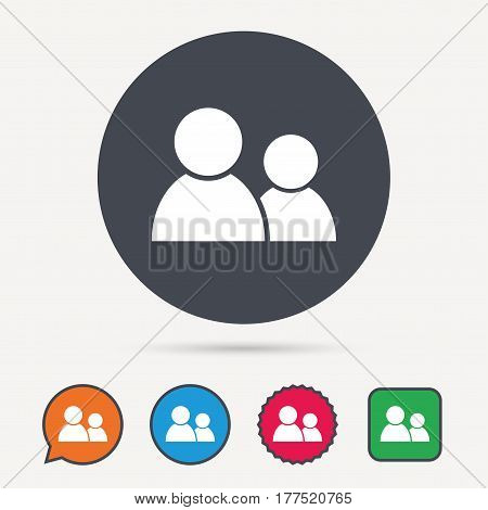 Friends icon. Group of people sign. Communication symbol. Circle, speech bubble and star buttons. Flat web icons. Vector