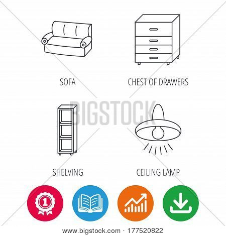 Sofa, ceiling lamp and shelving icons. Chest of drawers linear sign. Award medal, growth chart and opened book web icons. Download arrow. Vector