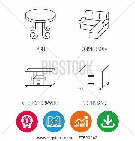 Corner sofa, table and nightstand icons. Chest of drawers linear sign. Award medal, growth chart and opened book web icons. Download arrow. Vector