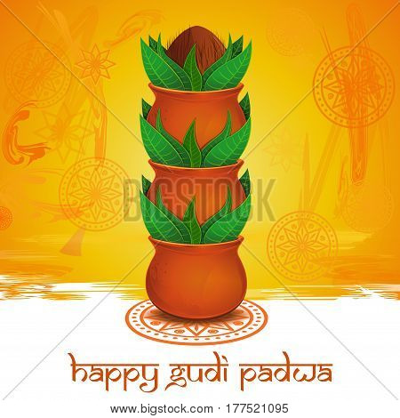 Happy Gudi Padwa. Gudi Padwa lettering. Vector colorful background with mandala, rangoli, clay pot, green leaves and coconut for Gudi Padwa and Ugadi