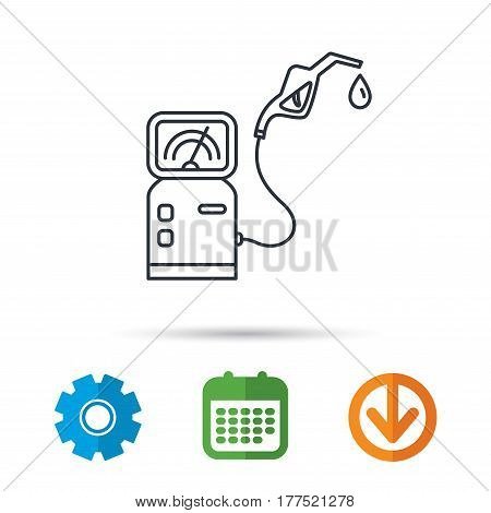 Gas station icon. Petrol fuel pump sign. Calendar, cogwheel and download arrow signs. Colored flat web icons. Vector