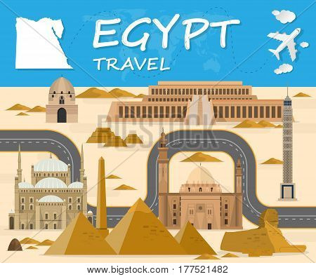 Egypt Landmark Global Travel And Journey Infographic Background. Vector Design Template.used For You