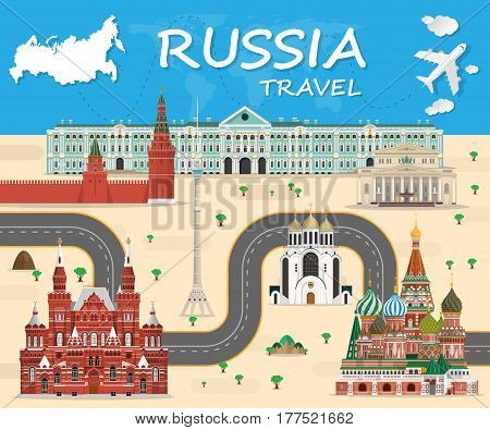Russia Landmark Global Travel And Journey Infographic background. Vector Design Template.used for your advertisement, book, banner, template, travel business Landmarks or presentation.