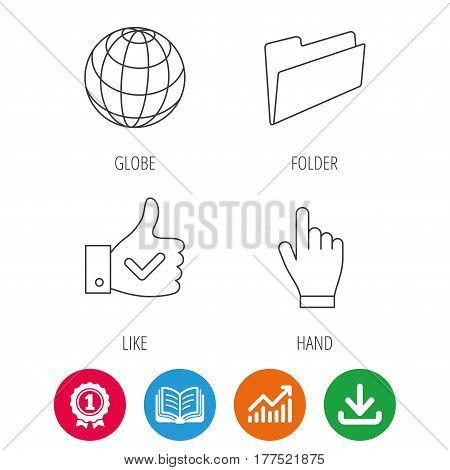 Folder, press hand and world globe icons. Social network linear sign. Award medal, growth chart and opened book web icons. Download arrow. Vector