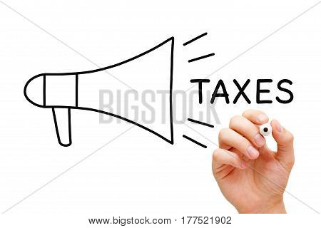 Hand drawing Taxes megaphone concept with marker on transparent wipe board.