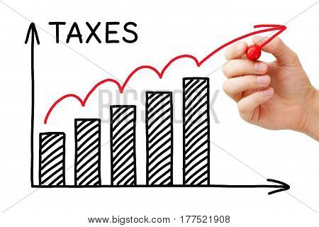 Hand drawing Rising Taxes graph concept with marker on transparent wipe board.
