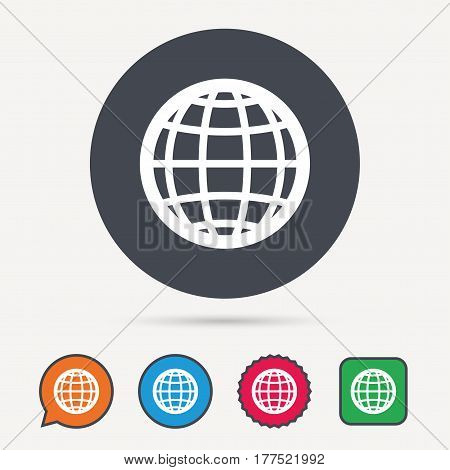 Globe icon. World or internet symbol. Circle, speech bubble and star buttons. Flat web icons. Vector