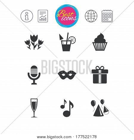 Information, report and calendar signs. Party celebration, birthday icons. Cocktail, air balloon and champagne glass signs. Gift box, flowers and carnival symbols. Classic simple flat web icons