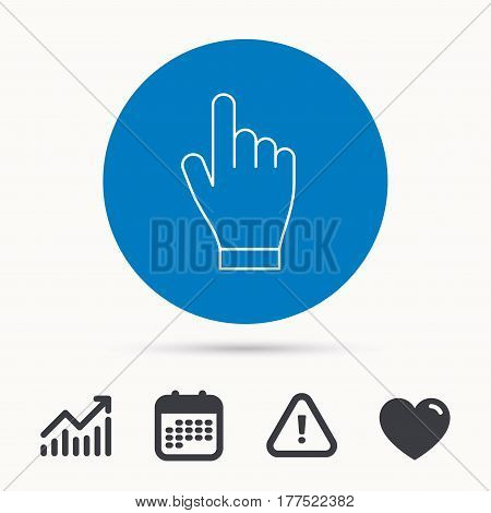 Click hand icon. Press or push pointer sign. Calendar, attention sign and growth chart. Button with web icon. Vector