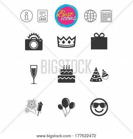 Information, report and calendar signs. Party celebration, birthday icons. Fireworks, air balloon and champagne glass signs. Gift box, cake and photo camera symbols. Classic simple flat web icons