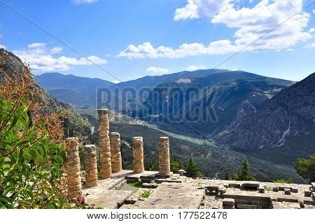 Ancient ruins of delphi in greece on a sunny day