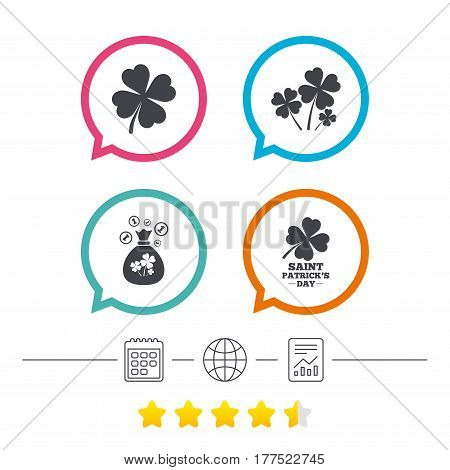 Saint Patrick day icons. Money bag with clovers and coins sign. Symbol of good luck. Calendar, internet globe and report linear icons. Star vote ranking. Vector
