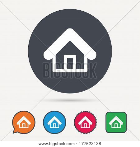 Home icon. House building symbol. Real estate construction. Circle, speech bubble and star buttons. Flat web icons. Vector
