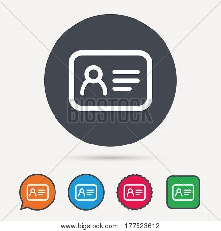 ID card icon. Personal identification document symbol. Circle, speech bubble and star buttons. Flat web icons. Vector