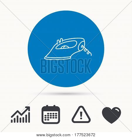 Iron icon. Ironing housework sign. Laundry service symbol. Calendar, attention sign and growth chart. Button with web icon. Vector