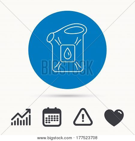 Jerrycan icon. Petrol fuel can with drop sign. Calendar, attention sign and growth chart. Button with web icon. Vector
