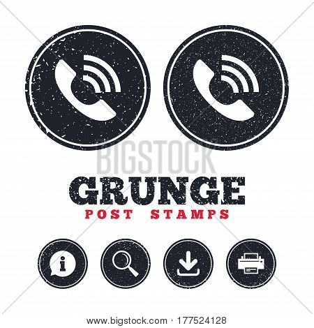 Grunge post stamps. Phone sign icon. Support symbol. Call center. Information, download and printer signs. Aged texture web buttons. Vector