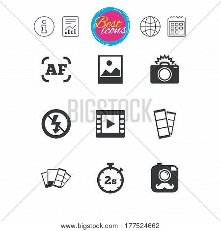 Information, report and calendar signs. Photo, video icons. Camera, photos and frame signs. No flash, timer and strips symbols. Classic simple flat web icons. Vector