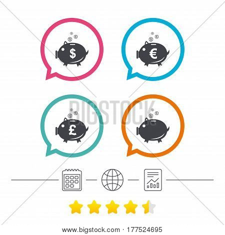 Piggy bank icons. Dollar, Euro and Pound moneybox signs. Cash coin money symbols. Calendar, internet globe and report linear icons. Star vote ranking. Vector