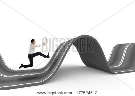 Businessman with the computer runs on a winding road. 3D Rendering