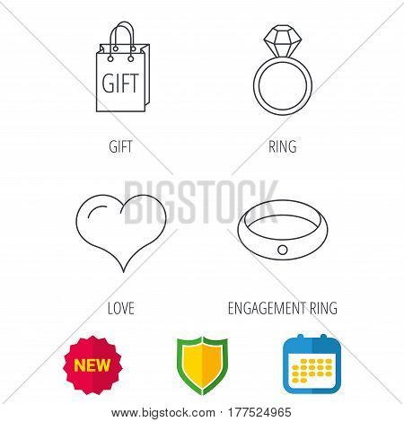 Love heart, gift bag and wedding ring icons. Engagement ring linear sign. Shield protection, calendar and new tag web icons. Vector
