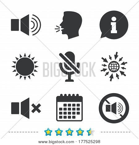 Player control icons. Sound, microphone and mute speaker signs. No sound symbol. Information, go to web and calendar icons. Sun and loud speak symbol. Vector