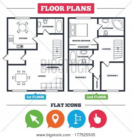Architecture plan with furniture. House floor plan. Mouse cursor icon. Hand or Flag pointer symbols. Map location marker sign. Kitchen, lounge and bathroom. Vector