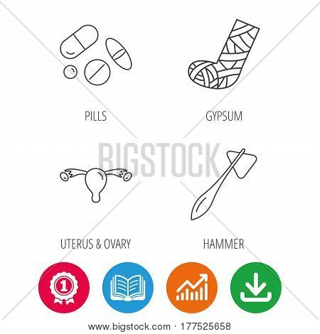 Hammer, broken leg and medical pills icons. Uterus and ovary linear sign. Award medal, growth chart and opened book web icons. Download arrow. Vector