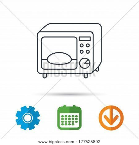 Microwave oven icon. Kitchen appliance sign. Calendar, cogwheel and download arrow signs. Colored flat web icons. Vector
