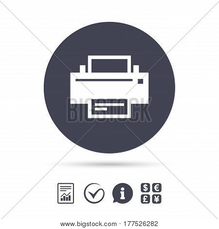 Print sign icon. Printing symbol. Print button. Report document, information and check tick icons. Currency exchange. Vector
