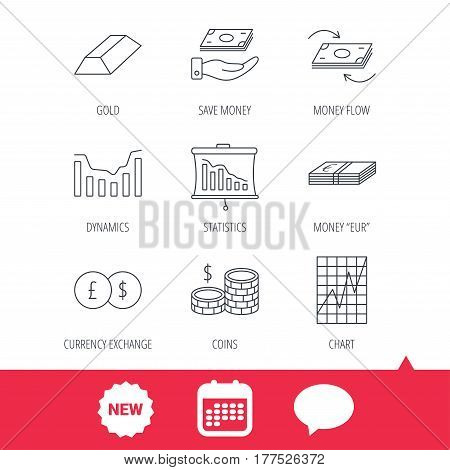 Banking, cash money and statistics icons. Money flow, gold bar and dollar usd linear signs. Dynamics chart, coins and savings icons. New tag, speech bubble and calendar web icons. Vector