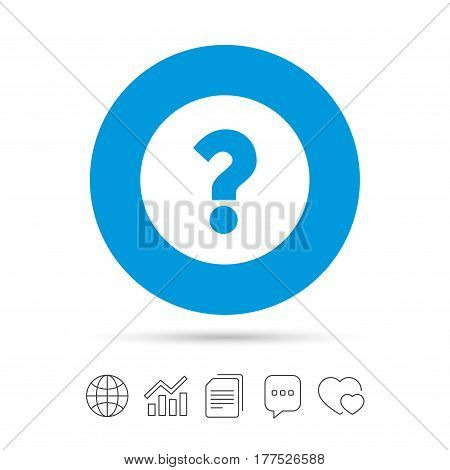 Question mark sign icon. Help symbol. FAQ sign. Copy files, chat speech bubble and chart web icons. Vector