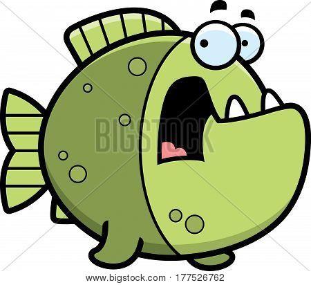 Scared Cartoon Piranha