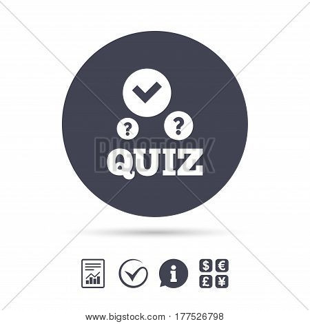 Quiz with check and question marks sign icon. Questions and answers game symbol. Report document, information and check tick icons. Currency exchange. Vector